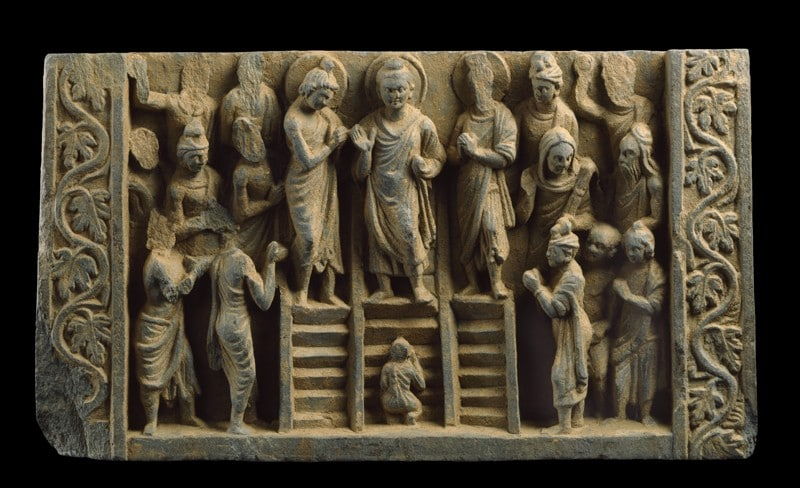 Relief depicting the Buddha's descent from the Heaven of the Thirty-three gods, Image courtesy of the Ashmolean Museum