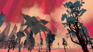 An artificial reality red sky with trees in the foreground, looking up from below