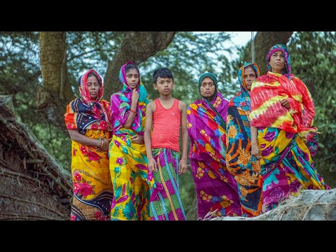 A group of villagers in brightly coloured garments