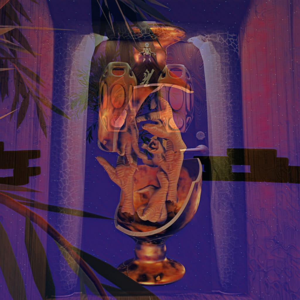 A computer illustrated image of an orange vase with chicken feet inside overlayed onto a blue and purple abstract background