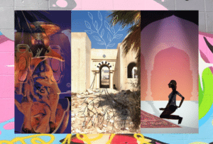 three portrait images from left, an orange vase with chicken feet inside, a courtyard with blue skies, a person in shadow kneeling down
