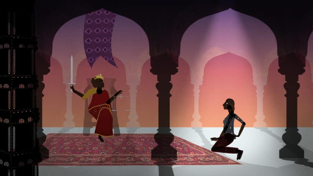 A puppet shadow computer generated image of a woman kneeling down in front of a woman wearing a sari on a throne with a crown, holding scales